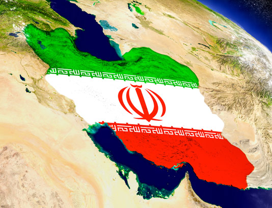 عکس با کیفیت نقشه ایران روی کره زمین با پرچم سه رنگ