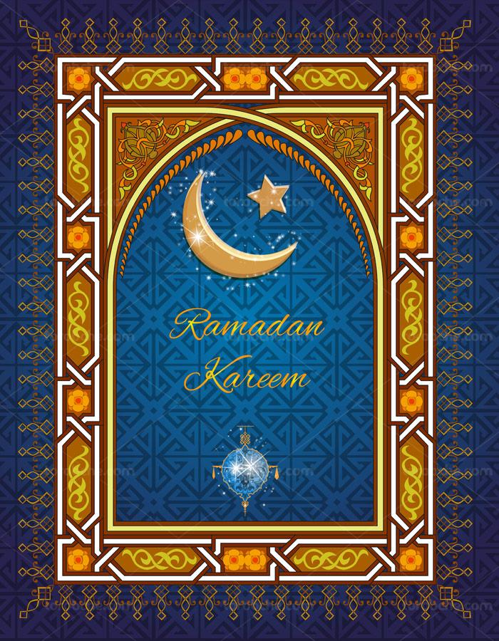 وکتور طرح اسلیمی مهراب مسجد با المان ماه رمضان