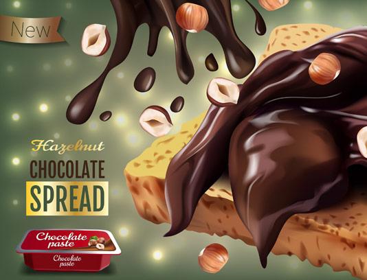وکتور طرح تبلیغاتی شکلات صبحانه فندقی با نان تست
