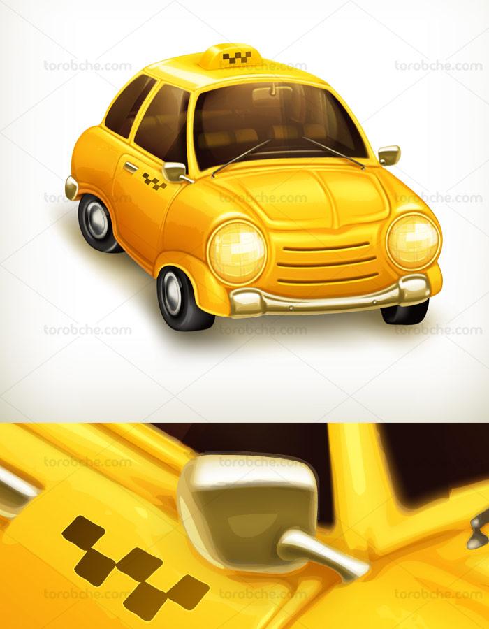 وکتور طرح ماشین تاکسی زرد رنگ