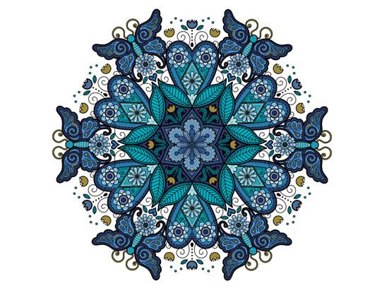 وکتور طرح سنتی دورانی گل و پروانه شماره ۰۱