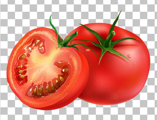 عکس با کیفیت دوربری شده گوجه تازه و برش خورده