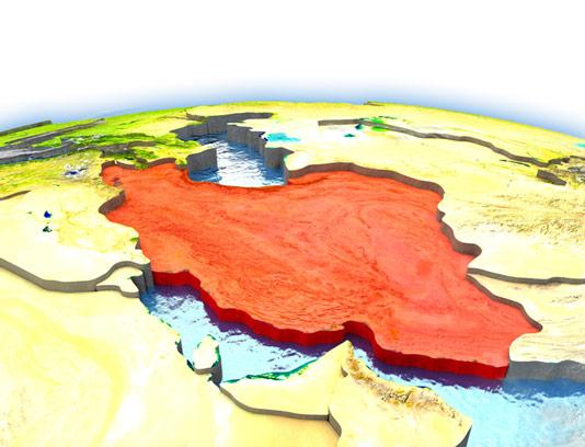 عکس با کیفیت نقشه سه بعدی کشور ایران