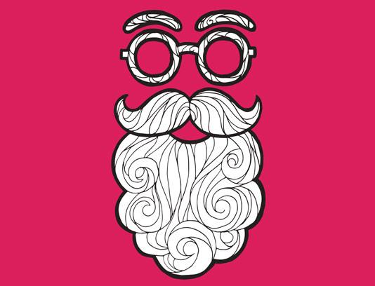 وکتور طرح صورت انتزاعی با عینک و ریش سفید
