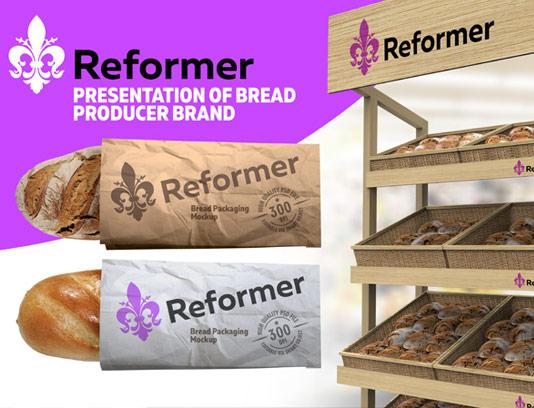 طرح لایه باز موکاپ بسته بندی نان فانتزی و قفسه محصولات