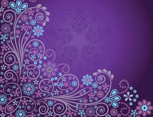 وکتور طرح بکگراند گل و بوته انتزاعی با رنگ بنفش