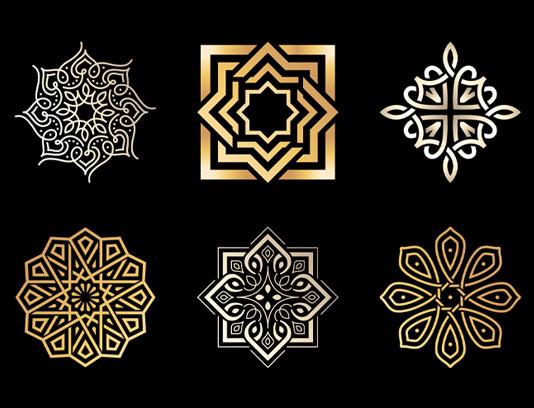 وکتور المان های طراحی لوگو طلایی و نقره ای