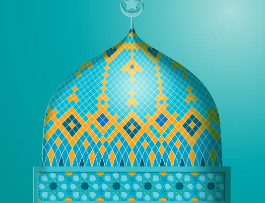 وکتور طرح گنبد مسجد با کاشی کاری اسلامی