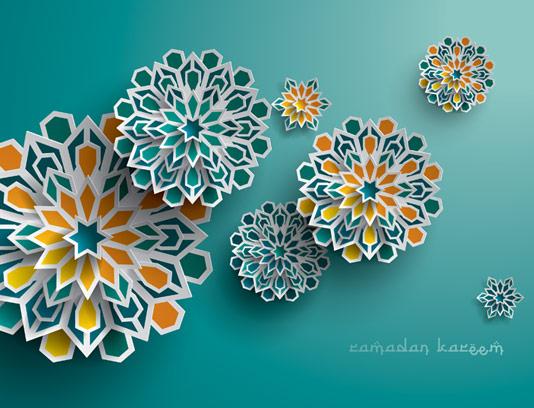 وکتور طرح گل های ژئومتریک اسلامی چند وجهی