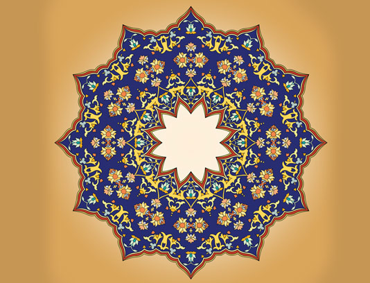 وکتور طرح کاشی کاری اسلامی شماره ۱۵۴