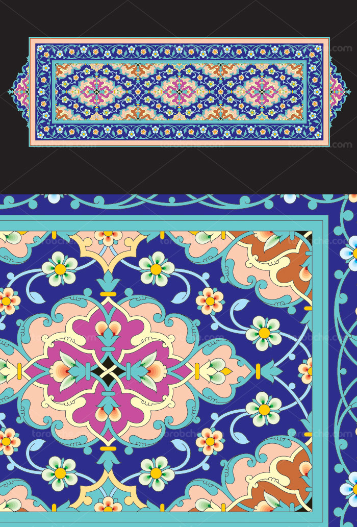 وکتور طرح کاشی کاری اسلامی شماره ۱۶۰