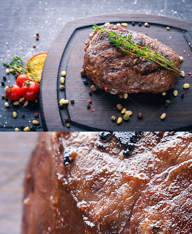 عکس با کیفیت استیک گوشت خشک با بشقاب چوبی