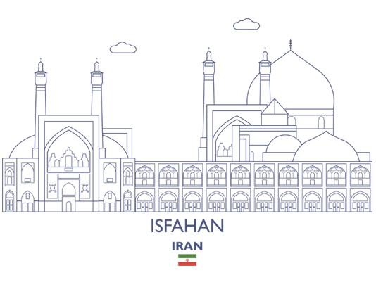 وکتور طرح مینیمال خطوط اماکن دیدنی اصفهان