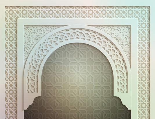 وکتور طرح درب مسجد با پترن های اسلیمی