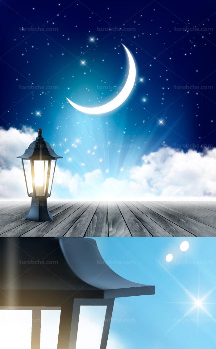 وکتور بکگراند آسمان شب و زمینه چوبی با فانوس