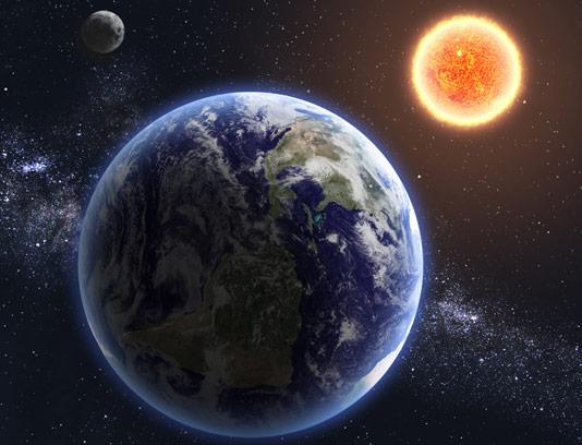 عکس با کیفیت کره ی زمین، خورشید و ماه