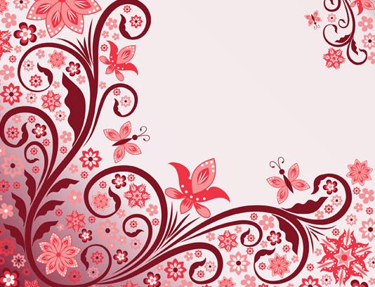 وکتور پس زمینه گل و بوته های قرمز و پروانه