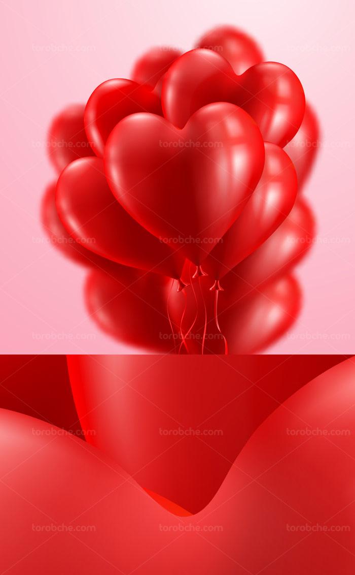 وکتور بادکنک های قلبی شکل قرمز رنگ