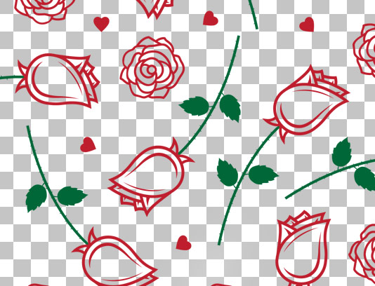 وکتور پترن گل های رز قرمز رنگ