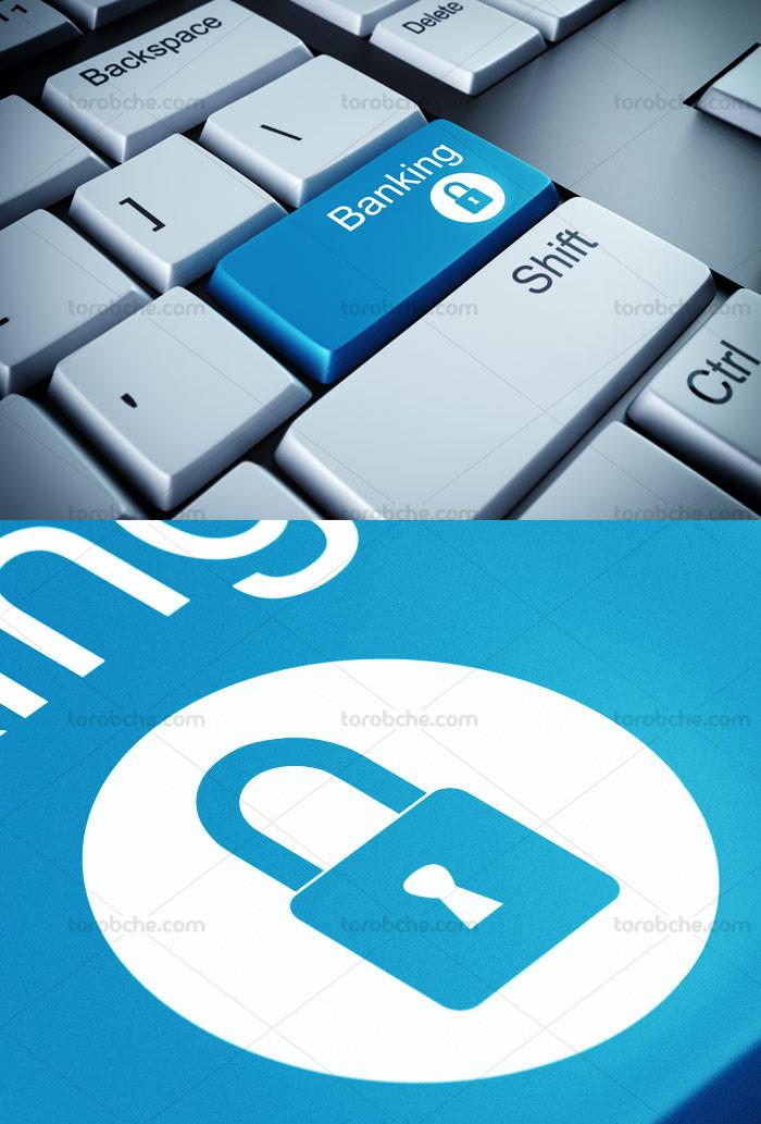 عکس با کیفیت مفهومی امنیت بانکداری مجازی