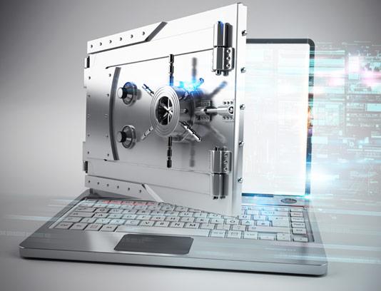 عکس با کیفیت مفهومی امنیت دیجیتال لپ تاپ