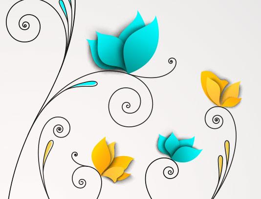 وکتور طرح پروانه های فانتزی انتزاعی