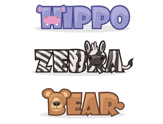 وکتور حروف لاتین حیوانات فانتزی آموزشی