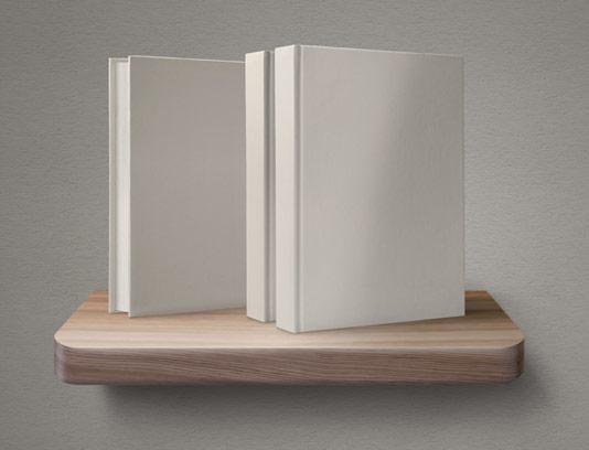 طرح لایه باز موکاپ کتاب و قفسه چوبی
