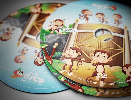 طرح لایه باز طرح لیبل DVD و CD کارتونی