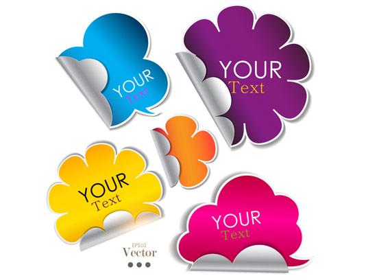 وکتور طرح برچسب های متنی رنگارنگ