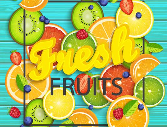 وکتور طرح بنر خلاقانه برش میوه های تازه