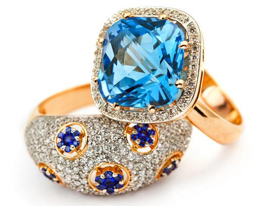عکس با کیفیت انگشتر حلقه طلا با جواهر آبی