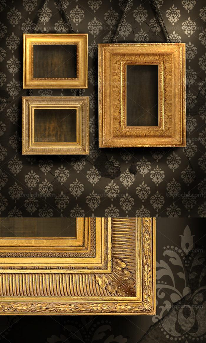 طرح بکگراند قاب عکس های چوبی طلایی رنگ