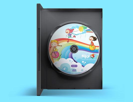 طرح لایه باز لیبل DVD و CD کودکان خوشحال و رنگین کمان