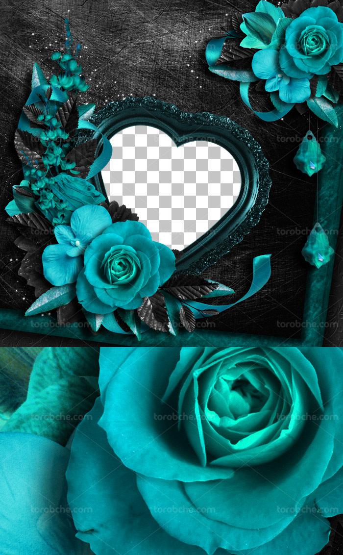 طرح قاب عکس فانتزی قلبی با گل های رز برجسته