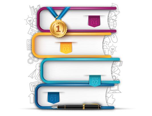 وکتور طرح مفهومی اینفوگرافیک کتاب های طبقه بندی شده
