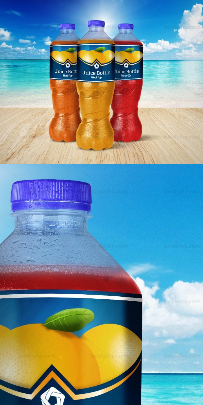طرح لایه باز موکاپ بطری آبمیوه پلاستیکی