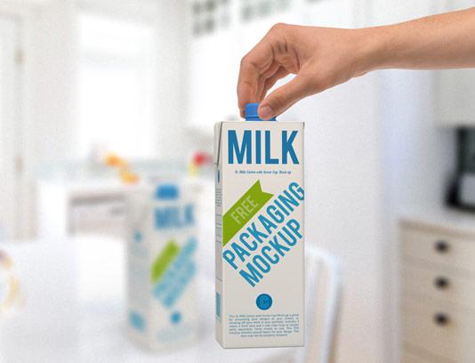 طرح لایه باز موکاپ بسته بندی شیر پاستوریزه