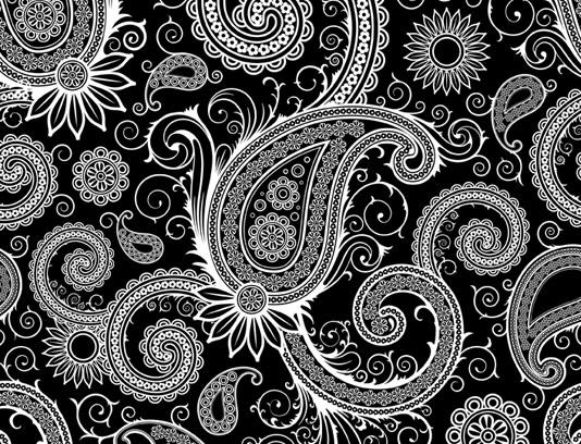 وکتور طرح بکگراند سنتی بته جغه با رنگ مشکی و سفید