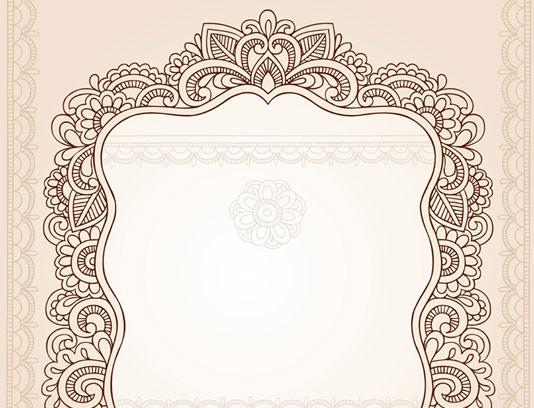 طرح وکتور قاب سنتی با نقوش بته جغه