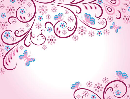 وکتور طرح بکگراند گل و بوته با رنگ زمینه صورتی