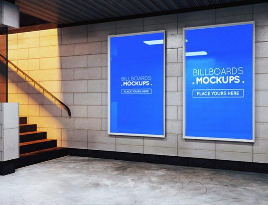 طرح لایه باز موکاپ بیلبورد تبلیغاتی در مترو