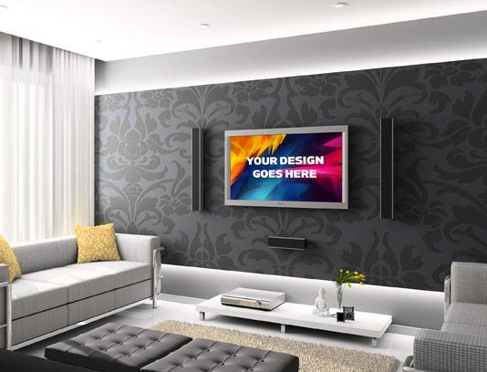 طرح لایه باز موکاپ تلویزیون ۲۴ اینچ روی دیوار