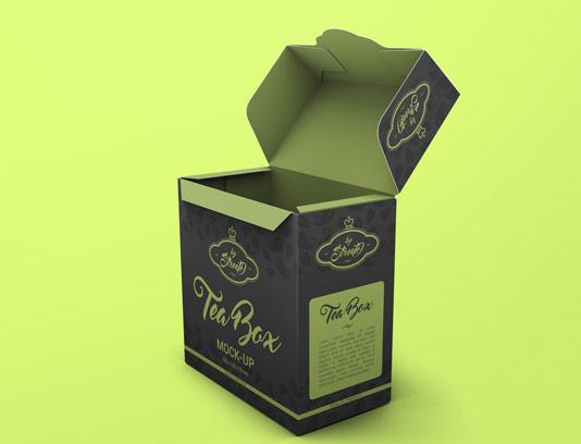 موکاپ بسته بندی جعبه چای به صورت لایه باز