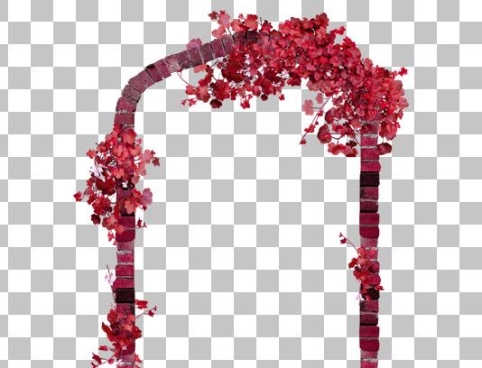 تصویر دوربری شده طاق آجری با گل و بته