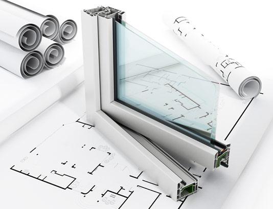 عکس پنجره دوجداره UPVC و نقشه ساختمانی