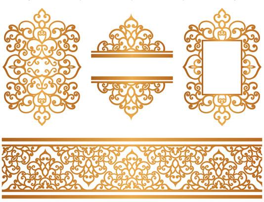 وکتور المان های سنتی طراحی طلایی رنگ