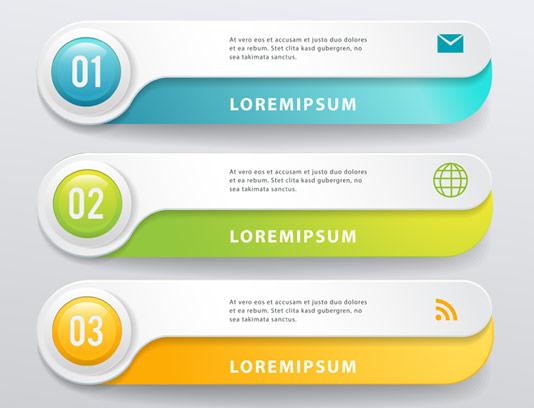 وکتور طرح دکمه های رنگی وب در ۵ طرح مختلف