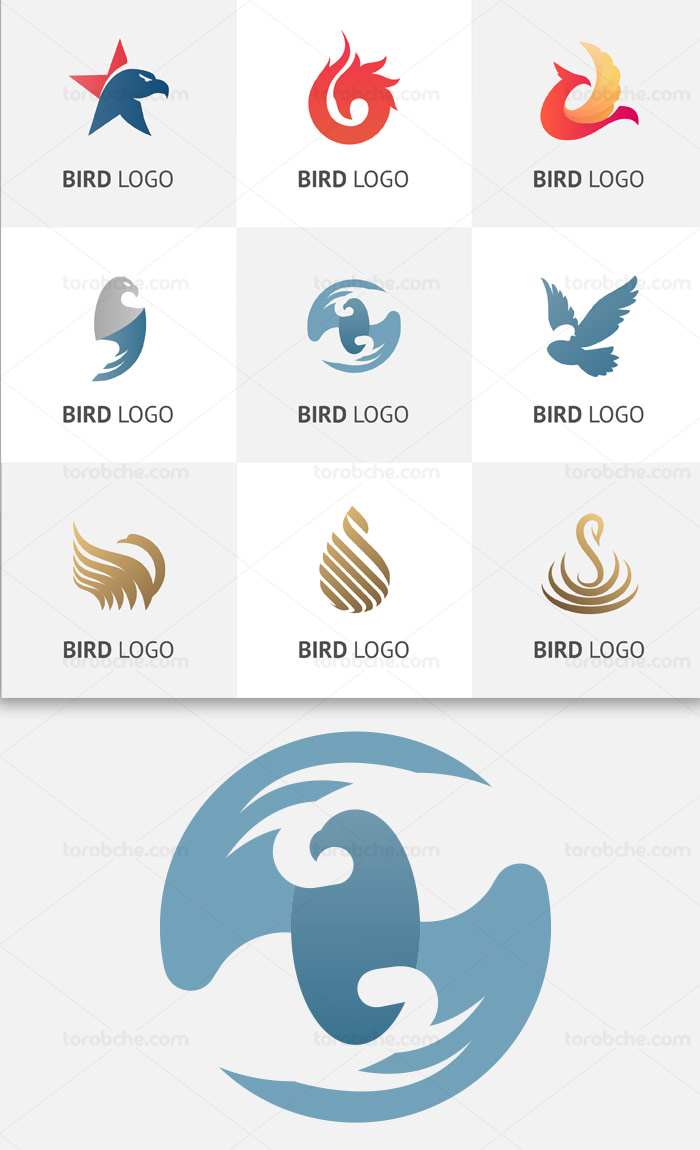 مجموعه ۹ وکتور المان لوگوی عقاب با فرمت AI