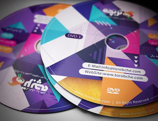 طرح لایه باز لیبل DVD خلاقانه انتزاعی